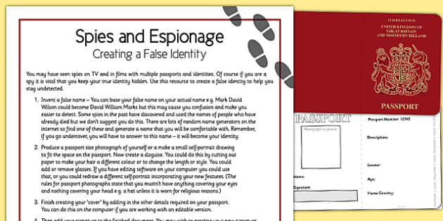 Spies and Espionage False Identity - spies, espionage, false identity, home education