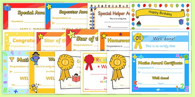 Certificate Variety Pack - certificates, packs, awards, award