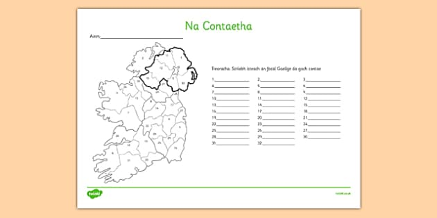 Na Contaetha Irish Counties of Ireland Activity Sheet Gaeilge - Irish, Gaeilge, Counties, Ireland, Geography, activity sheet, worksheet