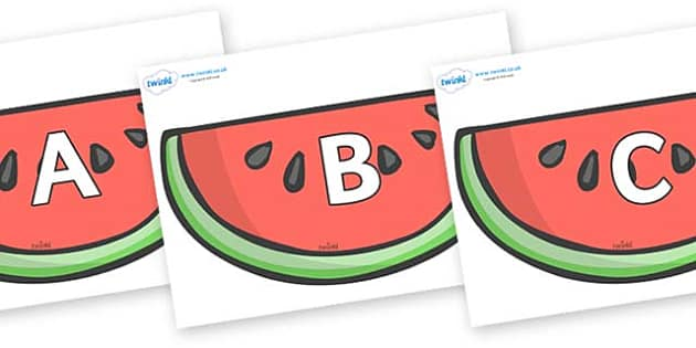 A-Z Alphabet on Watermelons to Support Teaching on The Very Hungry Caterpillar - A-Z, A4, display, Alphabet frieze, Display letters, Letter posters, A-Z letters, Alphabet flashcards