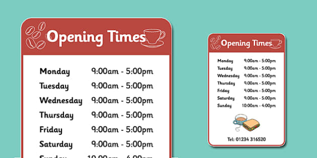 Cafe Opening Times Roleplay Sign - Cafe, shop,  role play, open, closed, Opening Times, open, menu, coffee, tea, waitress, till, cakes, cake, milk, sugar, table, chairs