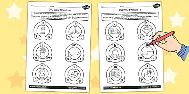 CVC Word Wheel Worksheets a - CVC words, word wheel, visual aid