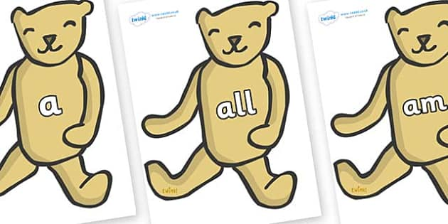 Foundation Stage 2 Keywords on Old Teddy Bears - FS2, CLL, keywords, Communication language and literacy,  Display, Key words, high frequency words, foundation stage literacy, DfES Letters and Sounds, Letters and Sounds, spelling