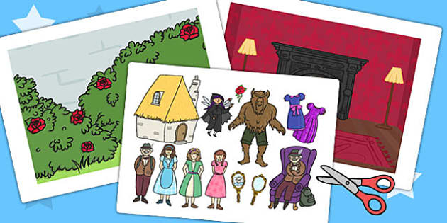 Beauty and the Beast Story Cut Outs - stories, cutouts, display