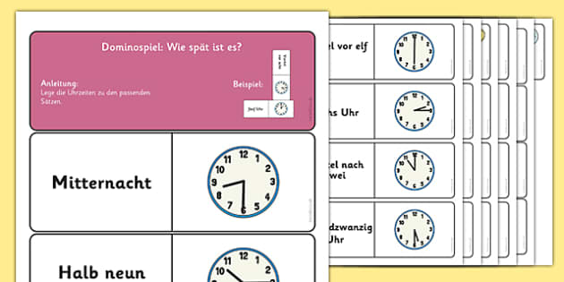 Telling the Time Dominoes German - time, clock, tell, analogue, hours, vocabulary, German, Germany, Deutsche