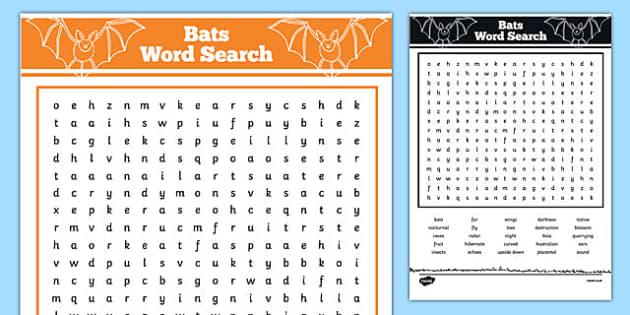 Australian Animals Years 3-6 Bats Word Search - australia, Australian Curriculum, animals, mammals, bats, activity, wordsearch
