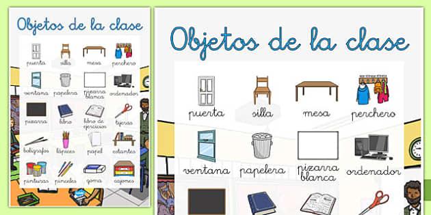 Póster grande de objetos de la clase - etiquetar, aula, decoración, etiquetas