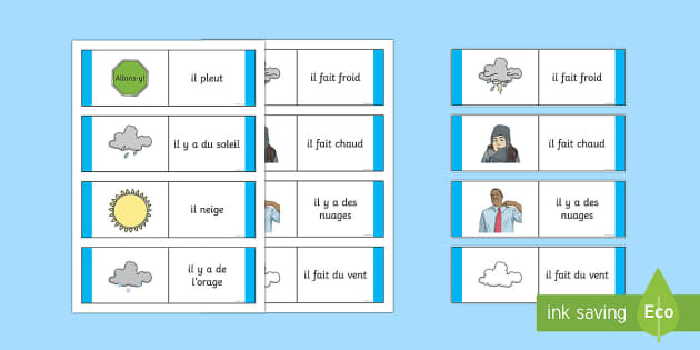 Weather Card Game French - French Games, French weather, French cards, French card games,Scottish