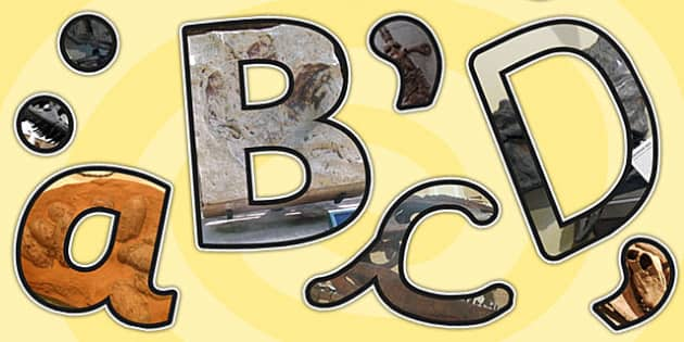 Dinosaurs Themed Photo A4 Display Lettering - dinosaurs, letters