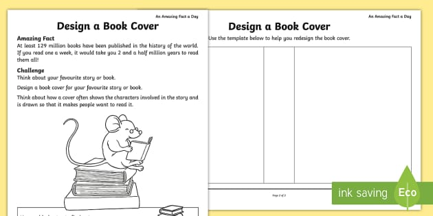 Log Book Cover Design ~ Design a book cover activity sheet amazing fact of the day