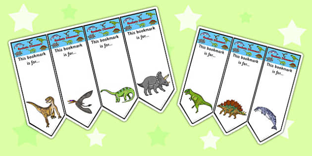Realistic Dinosaurs Bookmarks - dinosaur, bookmarks, books, award