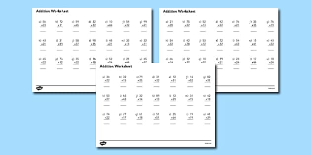 2 Digit Number Addition Worksheets addition worksheets – Addition 2 Digits Worksheets