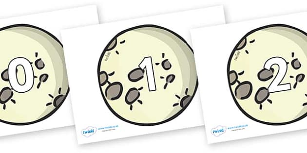 Numbers 0-31 on The Moon - 0-31, foundation stage numeracy, Number recognition, Number flashcards, counting, number frieze, Display numbers, number posters