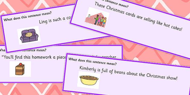 Food Idioms Sentence Cards - food, idioms, sentences, cards, sen