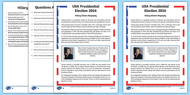 Hillary Clinton Biography Differentiated Reading Comprehension Activity