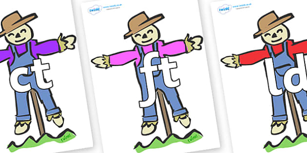Final Letter Blends on Scarecrows - Final Letters, final letter, letter blend, letter blends, consonant, consonants, digraph, trigraph, literacy, alphabet, letters, foundation stage literacy