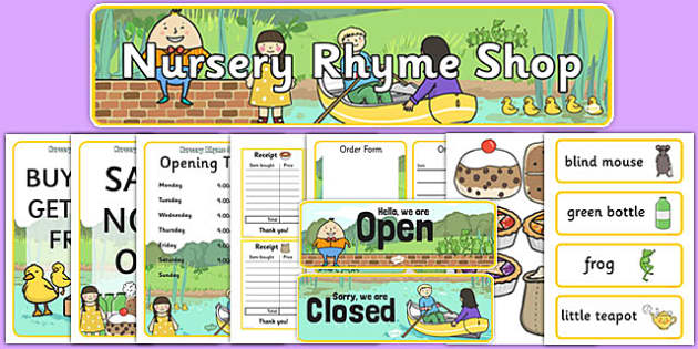 Nursery Rhyme Shop Role Play Pack - nursery rhyme shop, nursery rhyme, rhyme, pack