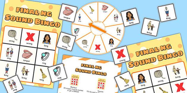 Final 'ng' Sound Spinner Bingo - final ng, sound, spinner, bingo