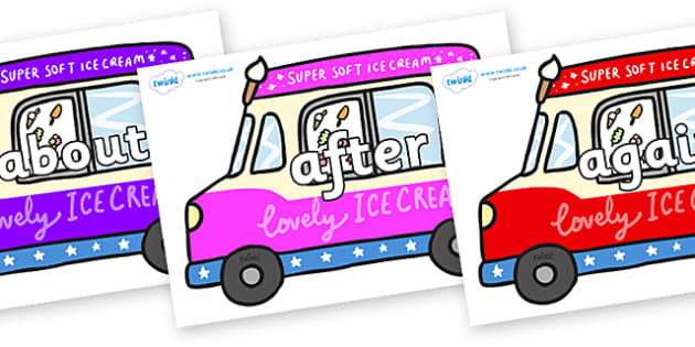 KS1 Keywords on Ice Cream Vans - KS1, CLL, Communication language and literacy, Display, Key words, high frequency words, foundation stage literacy, DfES Letters and Sounds, Letters and Sounds, spelling