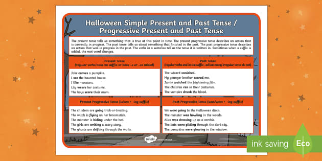 Halloween SPaG Present, Past and Progressive Tenses Word Mat