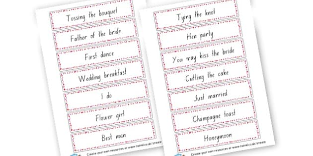 Wedding Word Cards - Weddings Primary Resources, wedding, cake, display, printable,