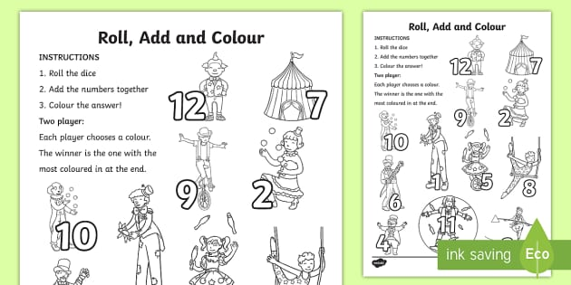 Circus Roll and Colour Worksheet - colouring, dice, dice games