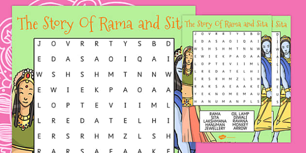 The Story of Rama and Sita Differentiated Wordsearch - diwali