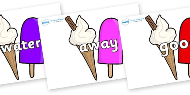 Next 200 Common Words on Ice Cream and Lollies - Next 200 Common Words on  - DfES Letters and Sounds, Letters and Sounds, Letters and sounds words, Common words, 200 common words