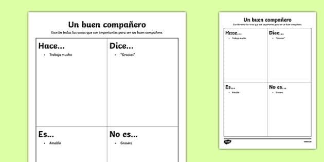 Un buen compañero - spanish, Back to School, new start, new class, behaviour, relationships, friendships, rules, responsibility, Scottish, worksheet