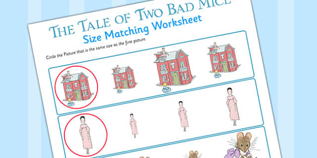 The Tale of Two Bad Mice Size Matching Worksheets - two bad mice