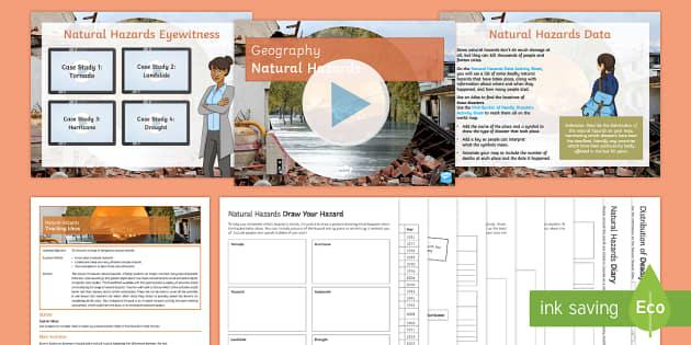 Natural Hazards Lesson Pack - Natural Hazards, tornado, hurricane, avalanche, drought, disaster, earthquake, volcano, flood, tsuna