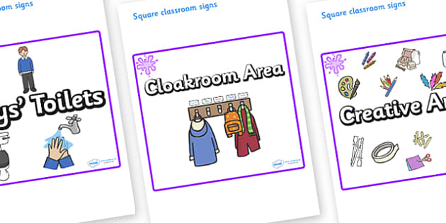 Purple Themed Editable Square Classroom Area Signs (Plain) - Themed Classroom Area Signs, KS1, Banner, Foundation Stage Area Signs, Classroom labels, Area labels, Area Signs, Classroom Areas, Poster, Display, Areas