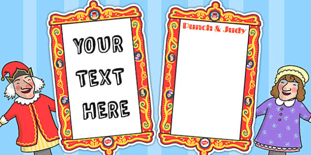 Punch and Judy Editable Posters - punch, judy, editable, posters