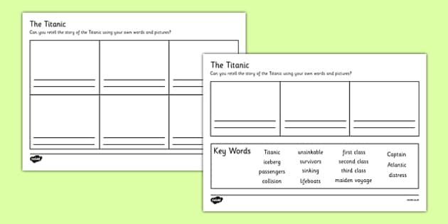 Retelling the Story of the Titanic Writing Frames - the titanic writing frames, titanic, writing frames, the titanic, ship, writing template, writing frames, word cards, flashcards, template