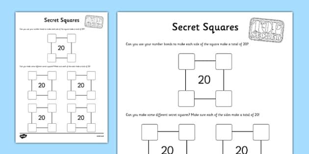 Secret Squares to 20 Activity Sheet - secret squares, 20, activity sheet, activity, secret, squares, worksheet