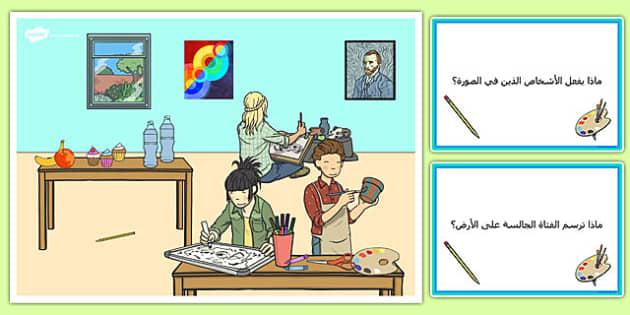 بطاقات مشهد في حصة التربية الفنية واسئلة - بطاقات، المدرسة، فنون