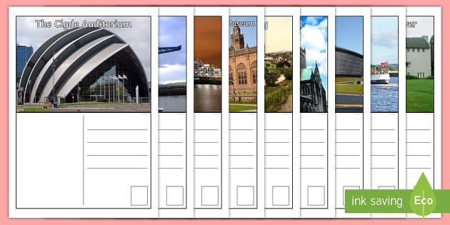 Glasgow Postcards - Scottish Cities, writing, tourist, tourism, creating texts ,Scottish, glasgow, glasgow city sites