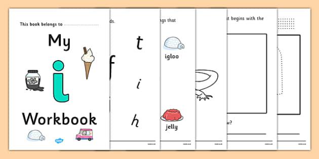 My Workbook i lowercase - workbook, i sound, lowercase, letters, alphabet, activity, handwriting, writing