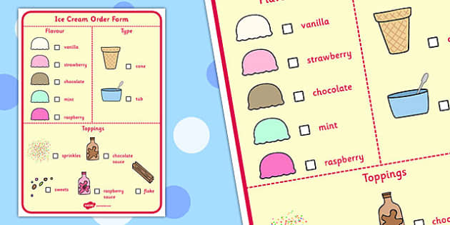 Ice Cream Parlour Order Form - ice cream parlour, order form