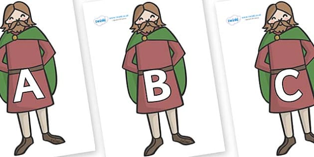 A-Z Alphabet on Britons - A-Z, A4, display, Alphabet frieze, Display letters, Letter posters, A-Z letters, Alphabet flashcards