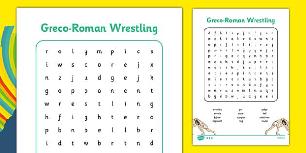 Rio 2016 Olympics Greco Roman Wrestling Word Search - rio 2016, rio olympics, 2016 olympics, greco-roman, wrestling, word search