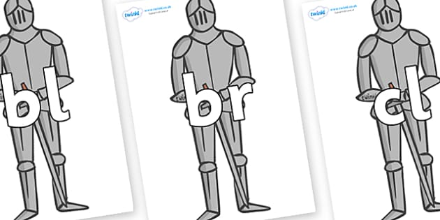 Initial Letter Blends on Suits of Armour - Initial Letters, initial letter, letter blend, letter blends, consonant, consonants, digraph, trigraph, literacy, alphabet, letters, foundation stage literacy