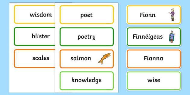 Fionn and the Salmon of Knowledge Vocabulary Word Cards -  roi, republic, of ireland, myths, legends,