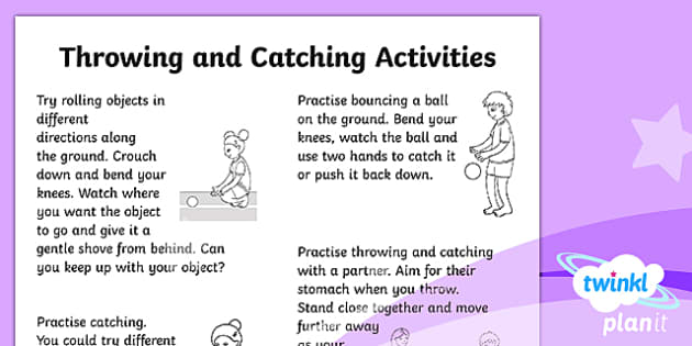 PlanIt - Year 1 PE - Throwing and Catching Home Learning Tasks - homework, home learning, bouncing, rolling, throwing, catching, pe, physical education, ks1, year 1,