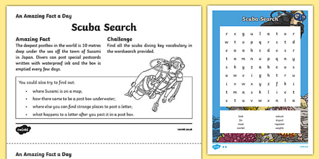 Scuba Search Activity Sheet, worksheet