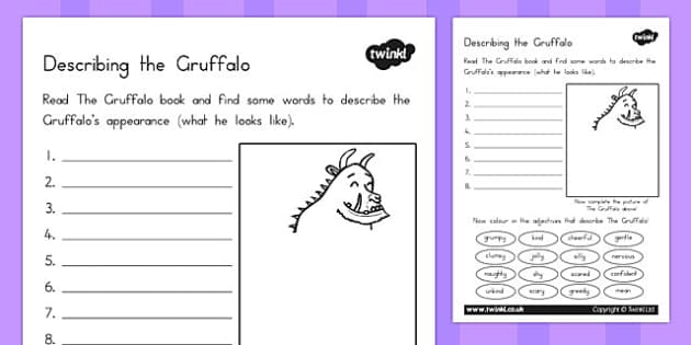 The Gruffalo Description Sheet - australia, gruffalo, description