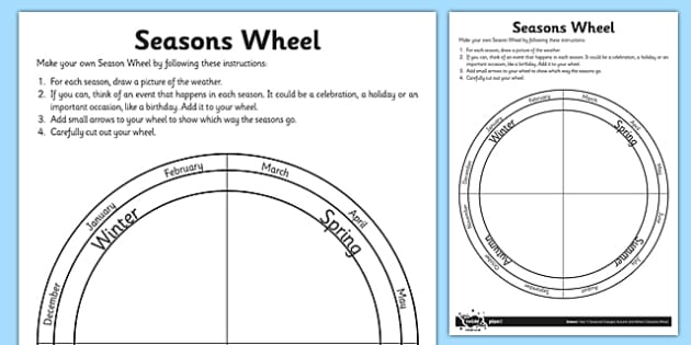 Seasons Wheel Activity Sheet - seasons wheel, activity, sheet, science, seasons, wheel, worksheet