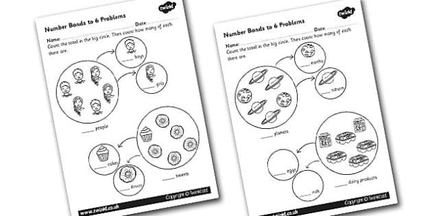 Number Bonds to 6 Problems Worksheet - numbers, bond, worksheet
