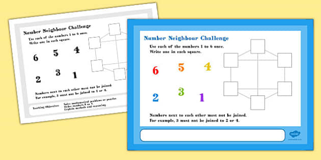 A4 Number Neighbour Maths Challenge Poster - challenge, poster