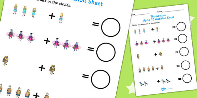 Thumbelina Up to 10 Addition Sheet - adding, add, numeracy, maths